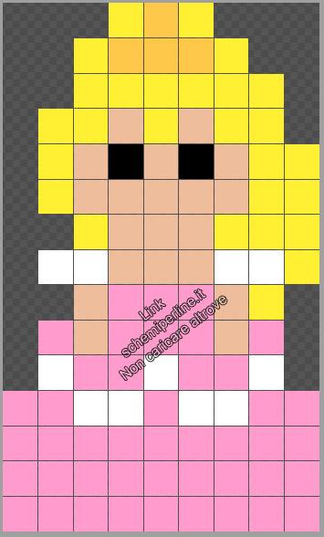 Aurora Principessa Disney Mini schema Hama Beads Pyssla gratis 9x15