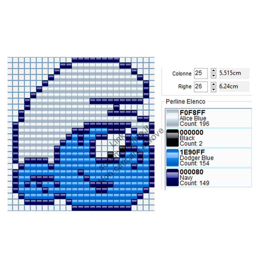 Baby Puffo immagine perline a fusione Hama Beads Ikea Pyssla 25x26
