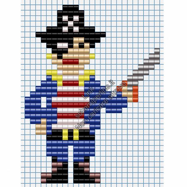 Bambino pirata schema perline da stirare pyssla 25x33
