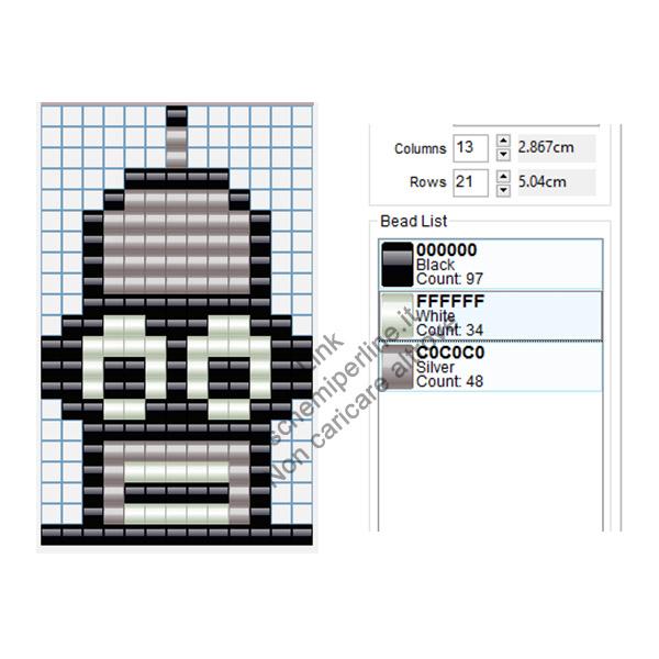 Bender di Futurama schema pyssla o hama beads gratis 13x21