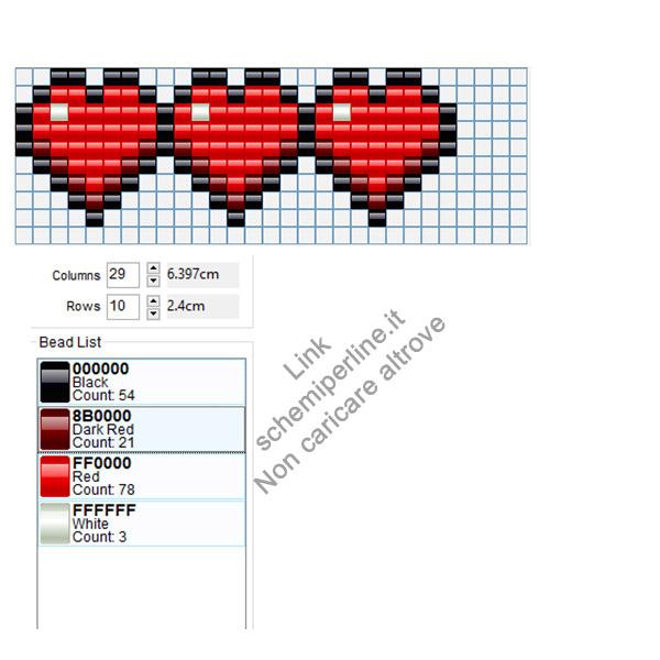 Braccialetto cuori Minecarft schema gratis Peyote Brick Stitch Pyssla