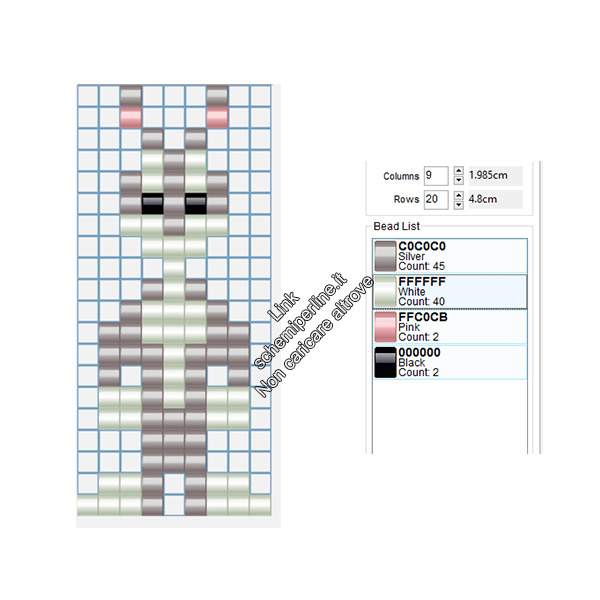 Bugs Bunny schema perline da stirare hama beads pyssla 9x20
