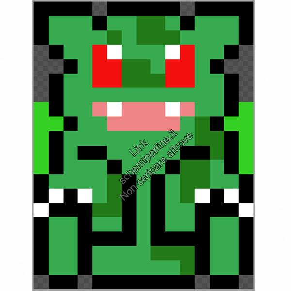 Bulbasaur schema pokemon videogames perline da stirare pyssla 15x20