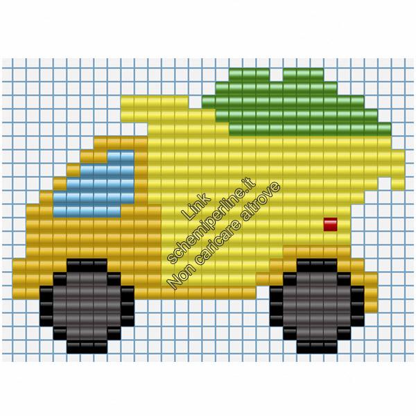 Camion mezzi di trasporto schemi pyssla per bambini 29x21