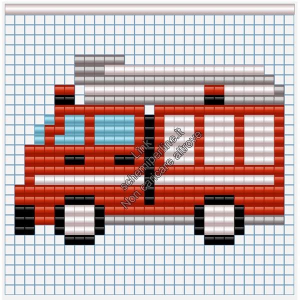 Camionetta dei pompieri mezzi di trasporto schemi pyssla per bambini 27x19