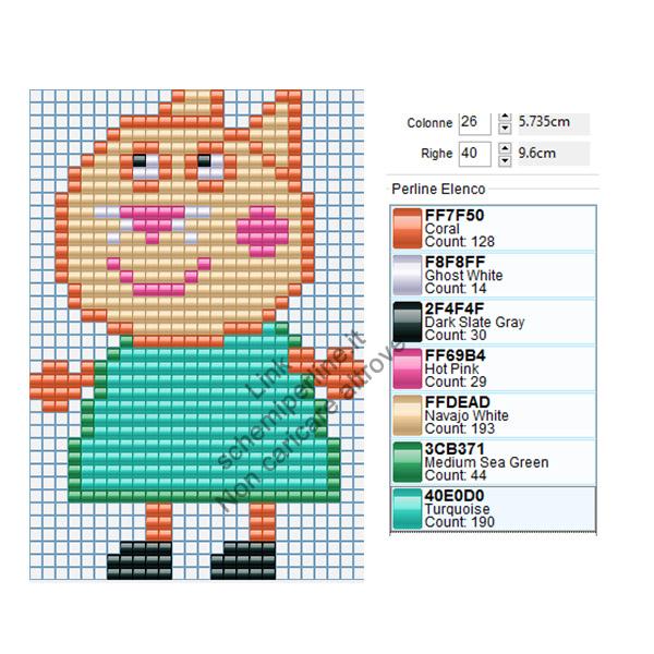 Candy Gatto personaggio Peppa Pig schema pyssla 26x40