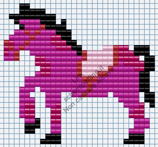Cavallo pony fucsia immagine perline da stirare Pyssla 29x27