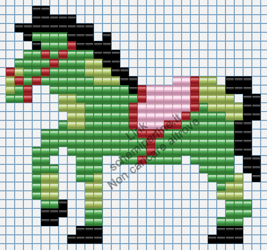 Cavallo pony verde immagine perline da stirare Pyssla 29x27