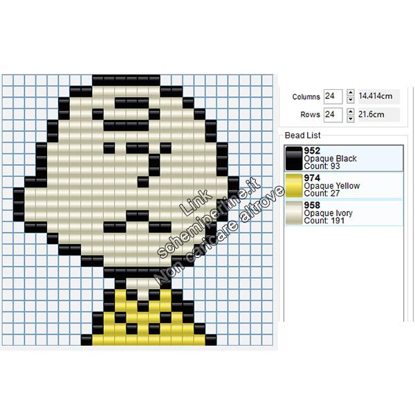 Charlie Brown schema perline da stirare pyssla gratis 24x24