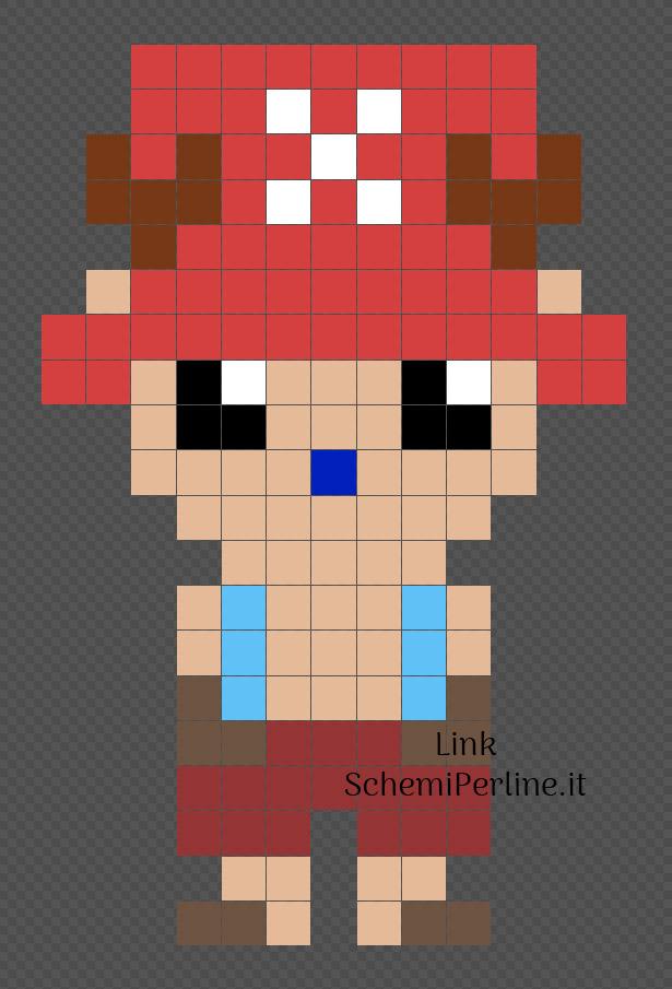 Chopper personaggio One Piece schema Pyssla 13x20