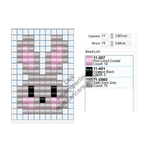 Coniglietto immagine gratis Pyssla Hama Beads per bambini 11x16