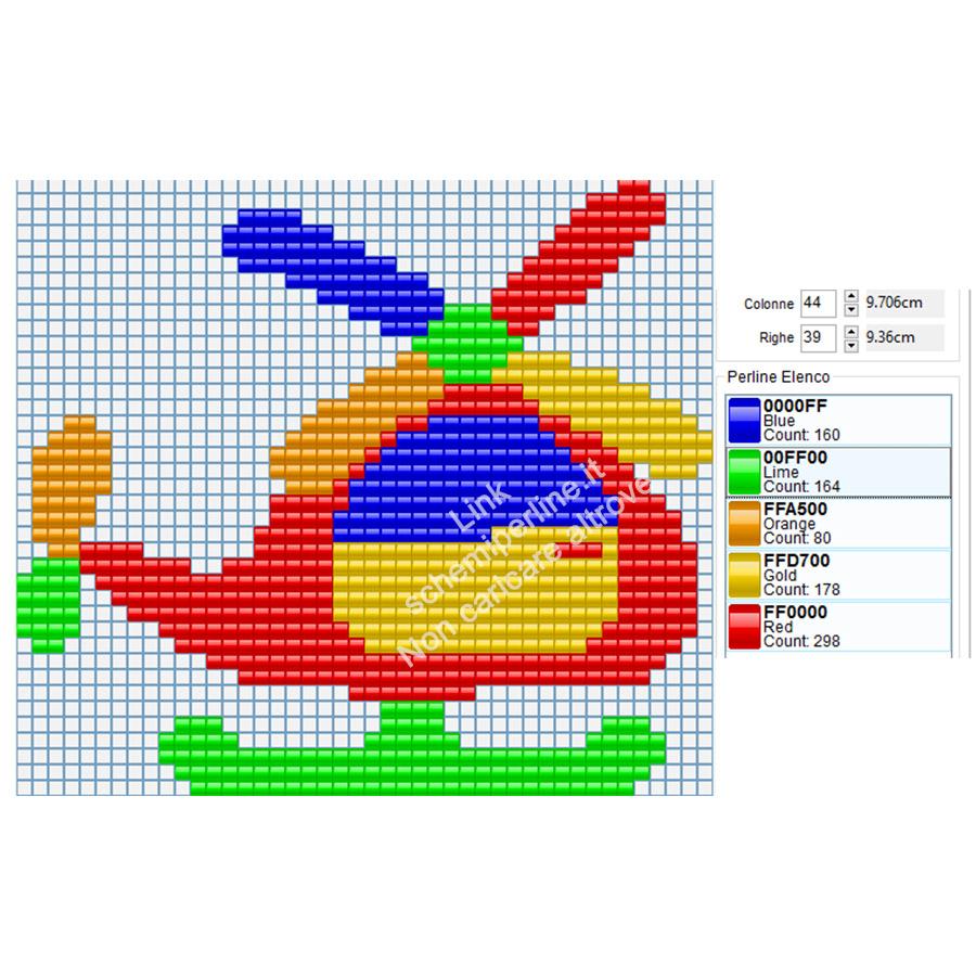 Elicottero colorato per bambini schema Pyssla gratuito 44x39