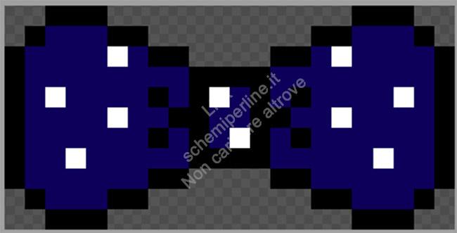 Fiocco o papillon schema perline da stirare Pyssla blu pois bianchi 22x11