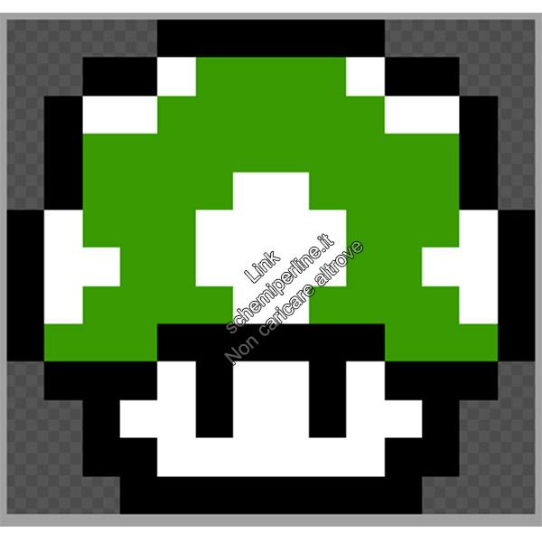 Funghetto verde di Super Mario Bros schemi perline da stirare Pyssla 14x13