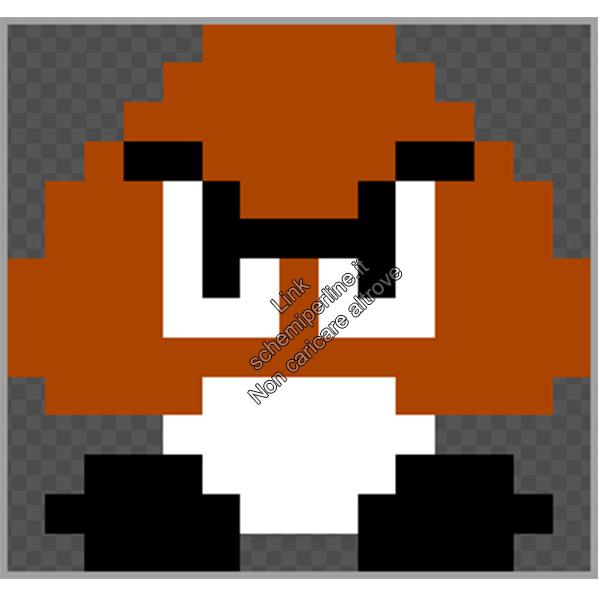 Goomba di Super Mario Bros schemi pyssla videogiochi Nintendo 15x14