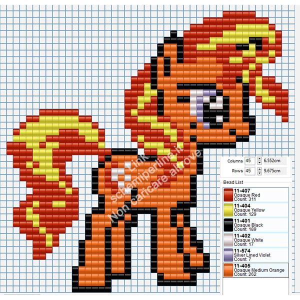 Grande baby pony arancione disegno Ikea Pyssla Hama Beads gratis 45x45