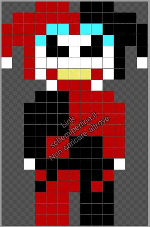 Harley Quinn schema perline da stirare Pyssla Hama Tiger gratis 13x20