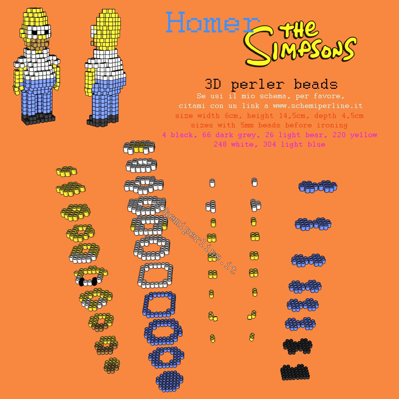 Homer Simpson in 3D con le perline da stirare Hama Beads o Pyssla