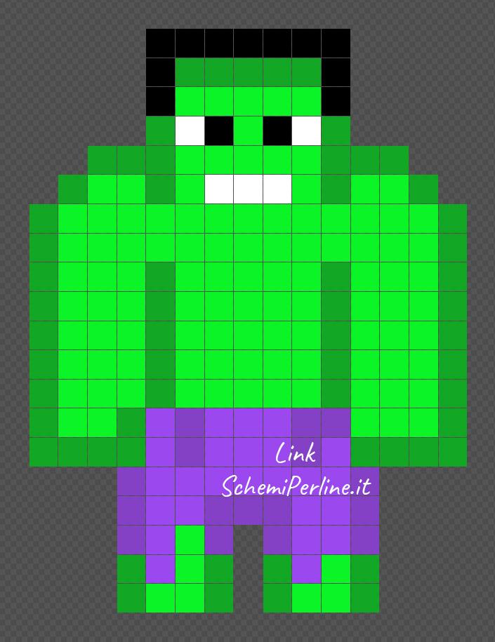 Hulk disegni pyssla dei supereroi 15x20