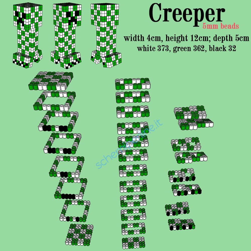 Il Creeper di Minecraft in 3D con le perline da stirare Pyssla schema gratis