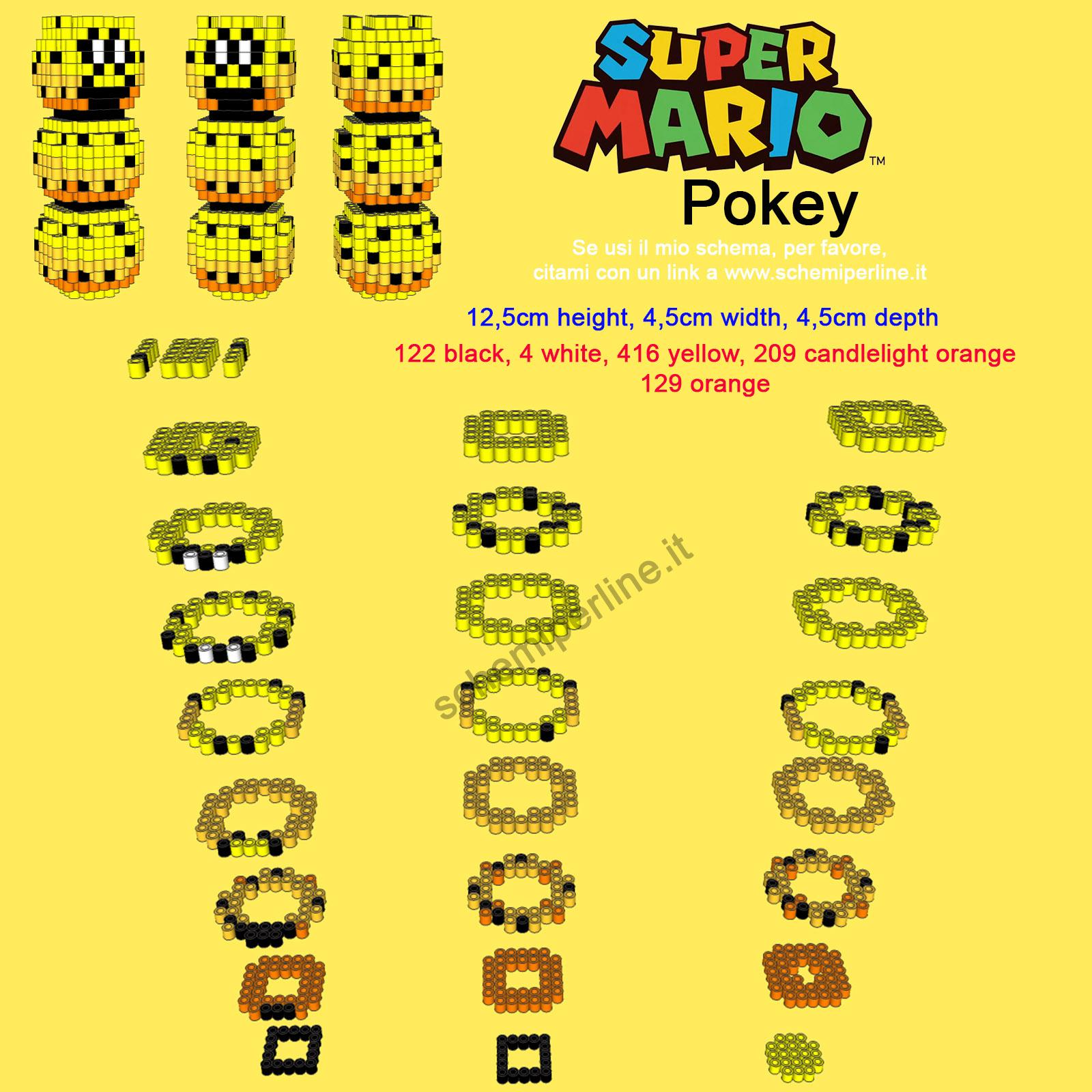 Il Marghibruco personaggio Super Mario Bros schema in 3D perline da stirare Pyssla
