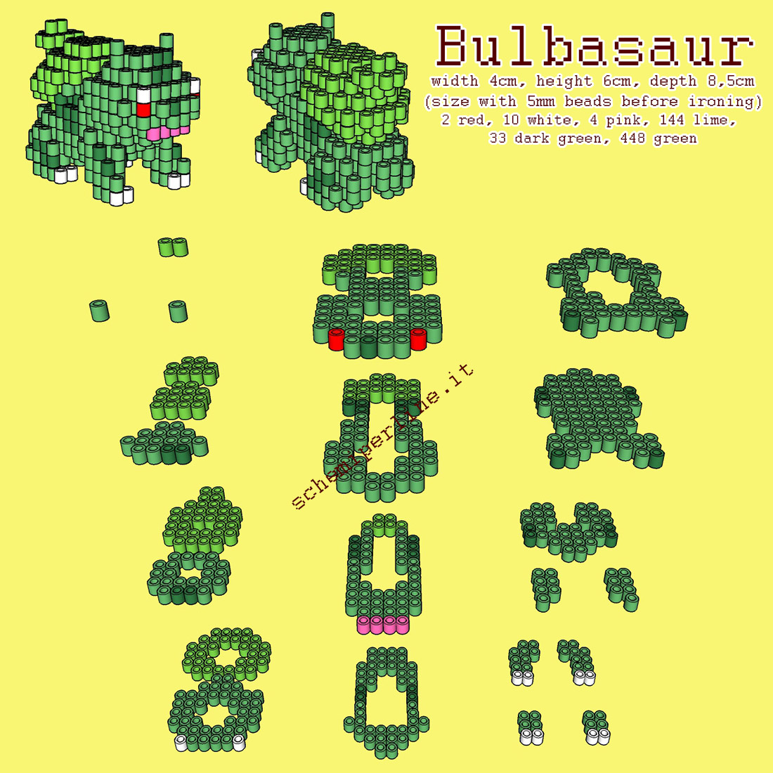 Il Pokemon Bulbasaur schema 3D con le perline da stirare Hama Beads