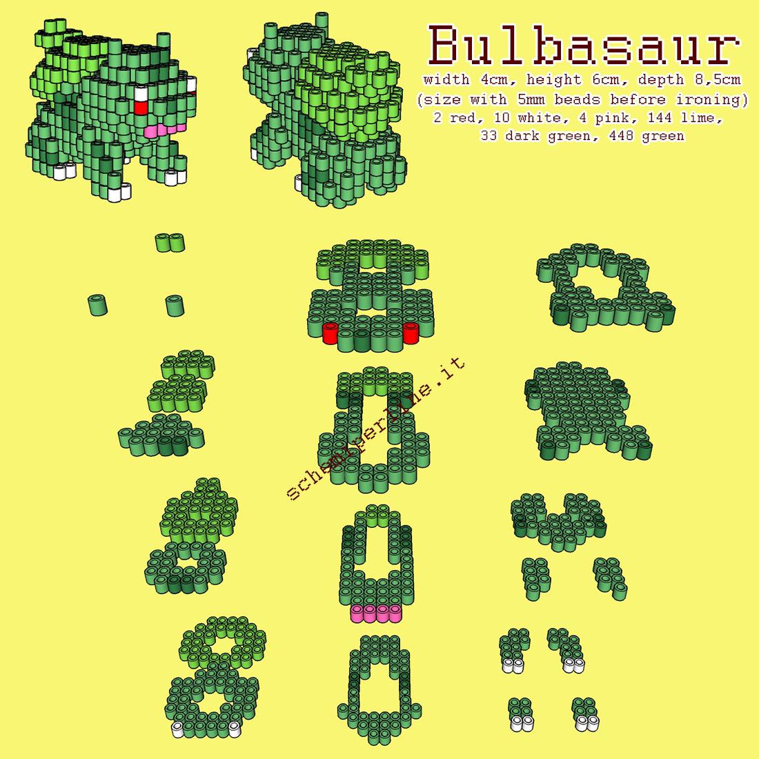 Il Pokemon Bulbasaur schema 3D con le perline da stirare Hama Beads