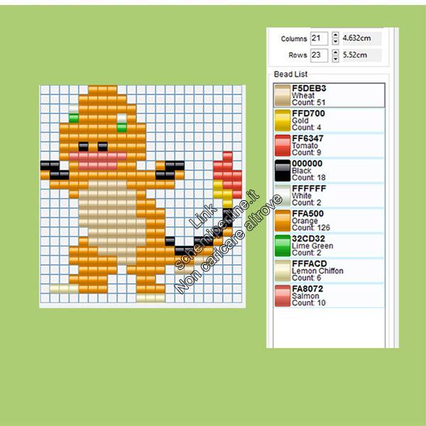 Il Pokemon Charmander schema perline a fusione Amazon Negozi Tiger 21x23