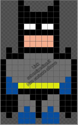 Il Supereroe Batman schema perline da stirare Pyssla Hama gratis 13x21