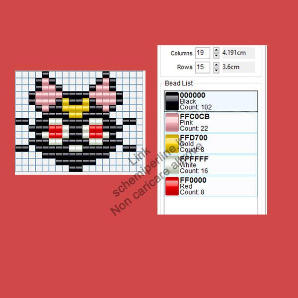 Il gatto di Sailor Moon schema perline Pyssla per bambini 19x15