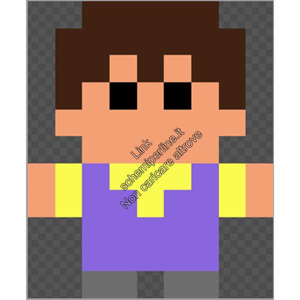Ken Rosenberg personaggio chibi GTA Vice City schema perline da stirare pyssla 9x11