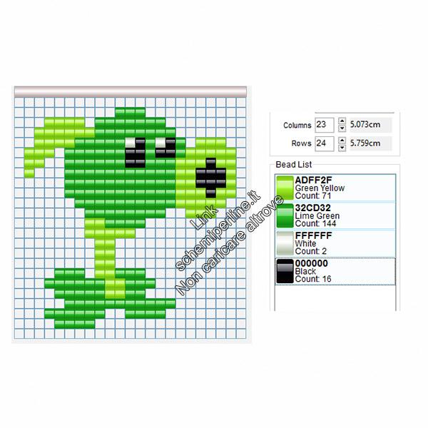 La Sparasemi di Piante Contro Zombi schemi pyssla hama beads di videogiochi 21x22