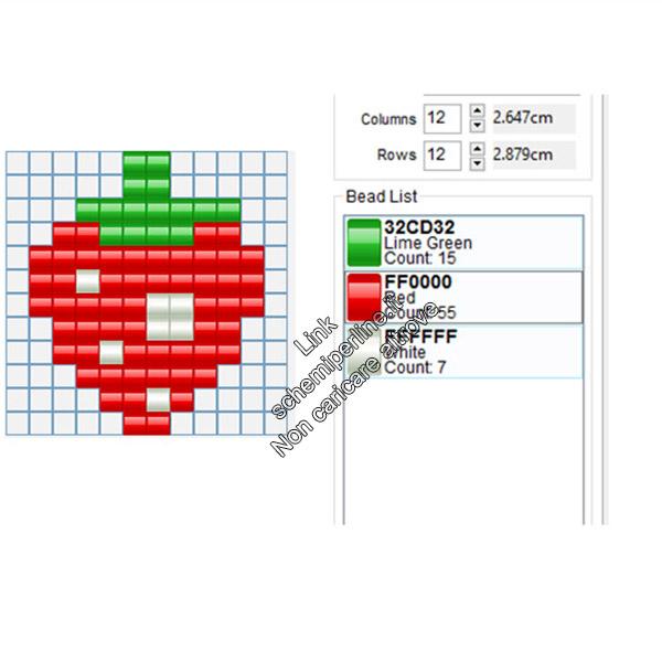 La fragola di Pacman schema pyssla hama beads gratis 12x12