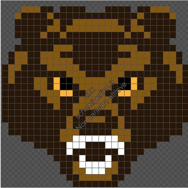 La mascotte della Baylor University orso schema perline da stirare gratis 29x29