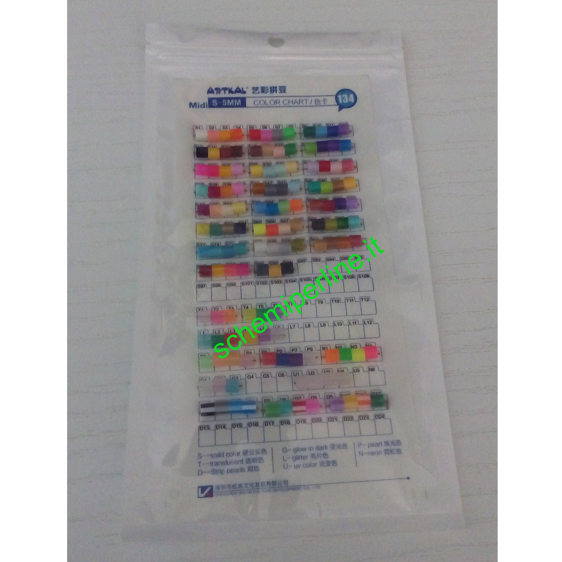 Legenda colori perline da stirare Artkal fuse beads gamma dure midi