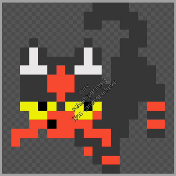 Litten di Pokemon Sole e Luna schema perline da stirare pyssla 17x19