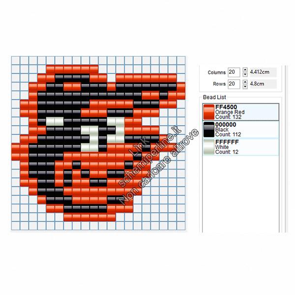 Logo dei Baltimore Orioles squadra di baseball americano schema pyssla 20x18