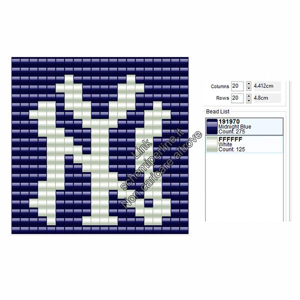 Logo dei New York Yankees squadra di baseball americano schema perline da stirare 20x20
