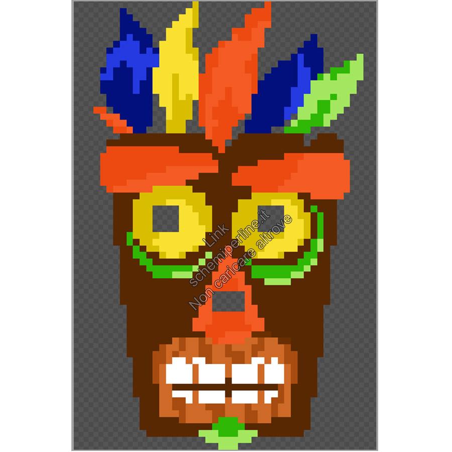 Maschera da indossare perline a fusione pyssla hama beads Aku Aku Crash Bandicoot