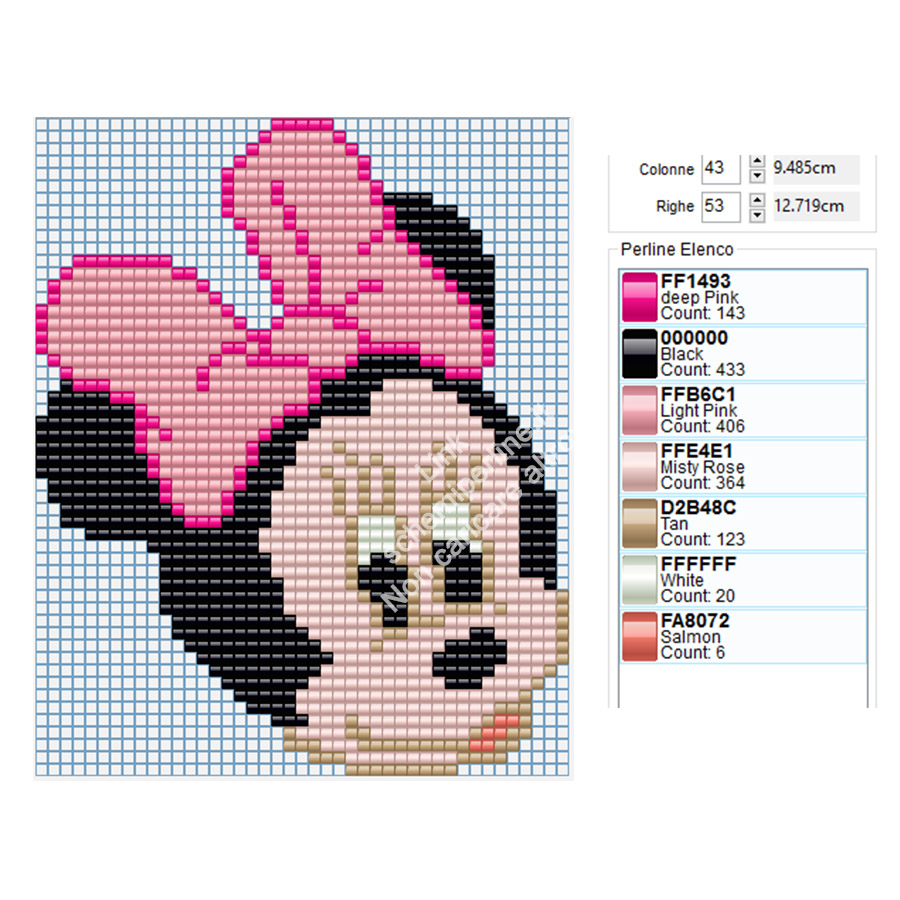 Minnie schema perline da stirare Ikea Pyssla 43x53