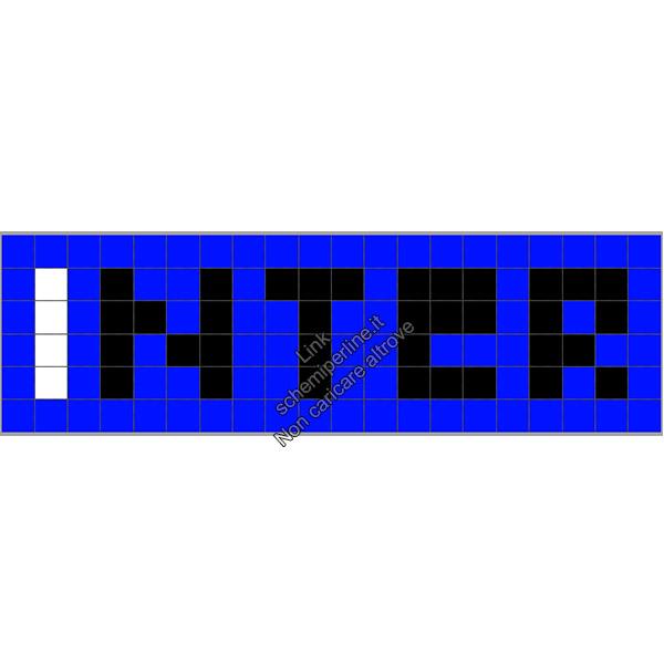 Nome squadra calcio Inter schema perline a fusione Pyssla Hama Perler 20x6