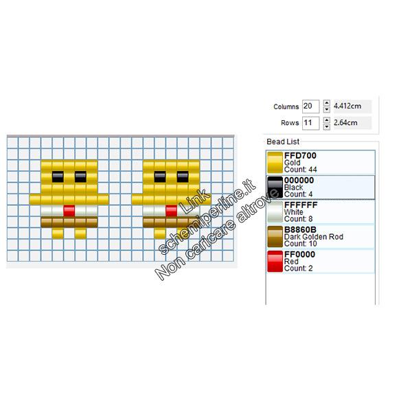 Orecchini con le pyssla a forma di Spongebob 7x7