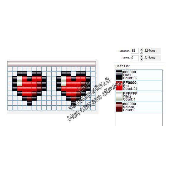 Orecchini con le pyssla a forma di cuori di Zelda 7x7
