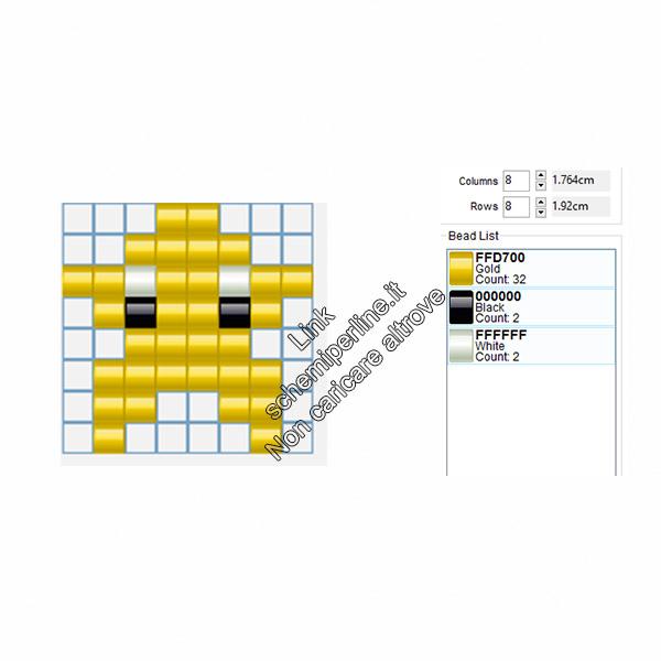 Piccola stella gialla da realizzare con le pyssla 8x8