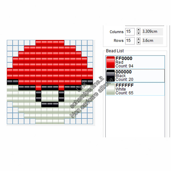 Pokeball dei Pokemon schema perline da stirare Amazon Negozi Tiger 15x15