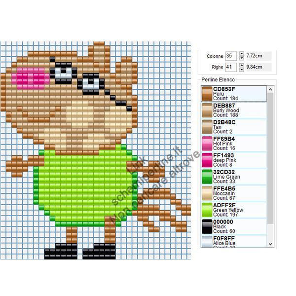 Pony Pedro personaggio Peppa Pig schema pyssla gratis 35x41