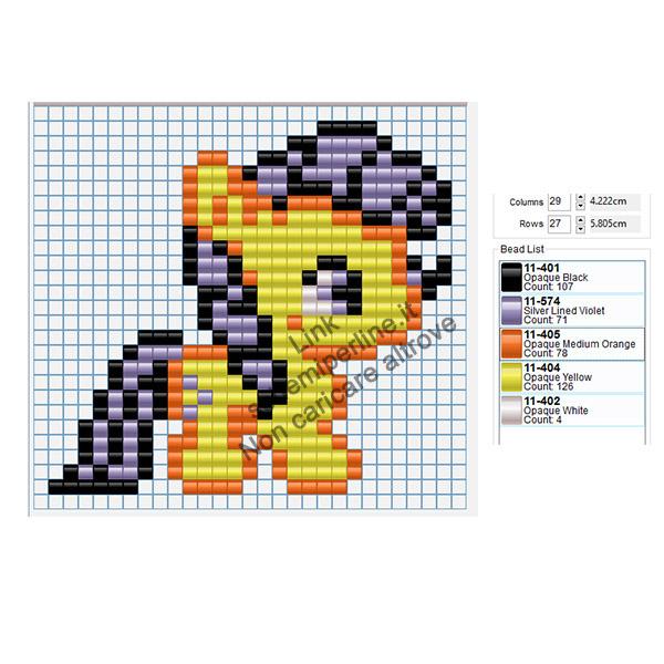 Pony giallo e viola schema perline a fusione Pyssla Tiger per bambini 29x27