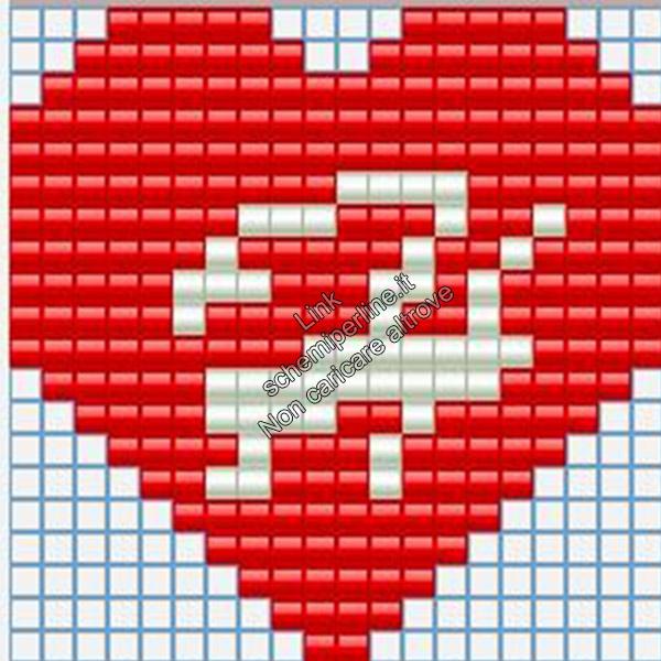Portachiavi con iniziale schema pyssla hama beads 20x20 lettera H