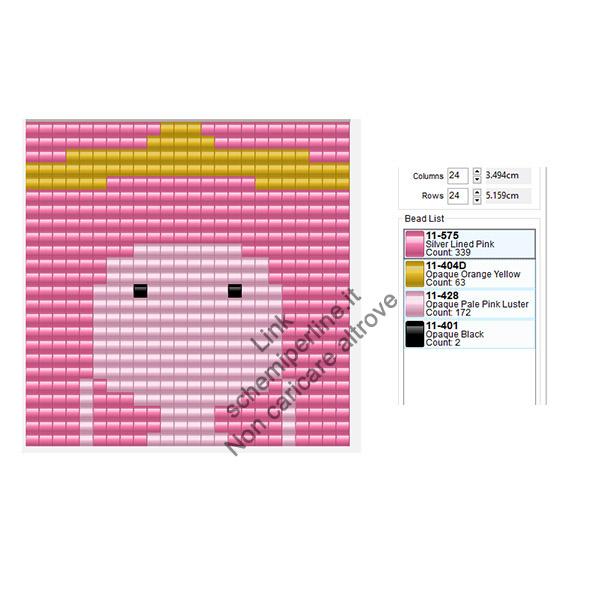 Principessa Gommarosa personaggio Adventure Time schema pyssla gratis 24x24
