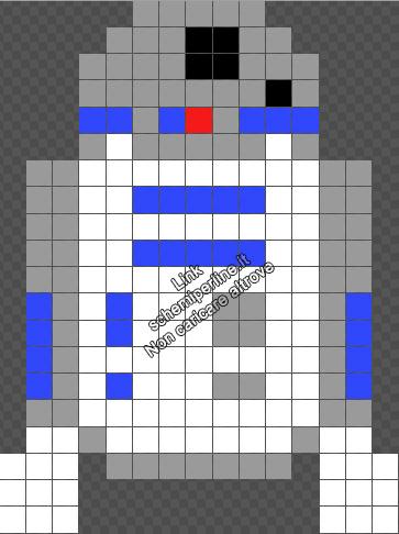 R2 D2 da Star Wars schema piccolo gratis perline da stirare Pyssla 15x20